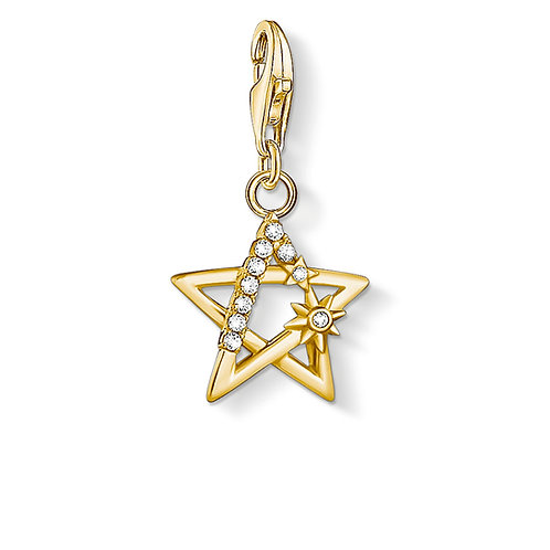 NEW - Thomas Sabo Silver Gold CZ Star Charm - 1850-414-14