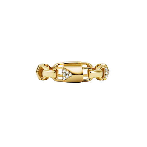 Michael Kors Sterling Silver Gold Plated CZ Link Band Ring - MKC1124AN710