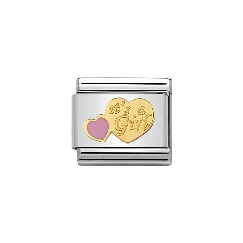Nomination Gold It's a Girl Pink Heart Charm Link - 030242/39