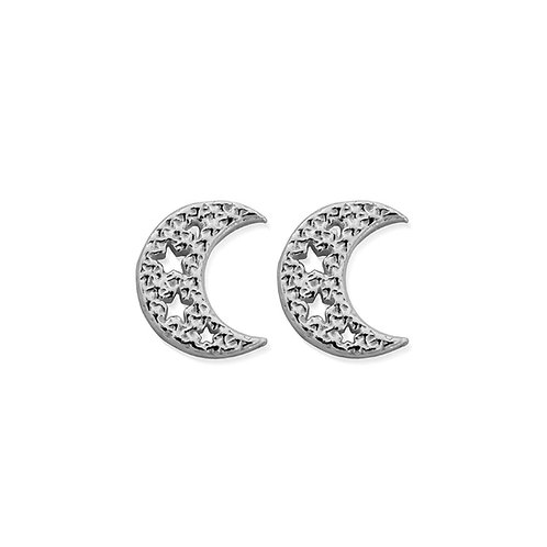 ChloBo Sterling Silver Sparkle Moon Stud Earrings - SEST3076