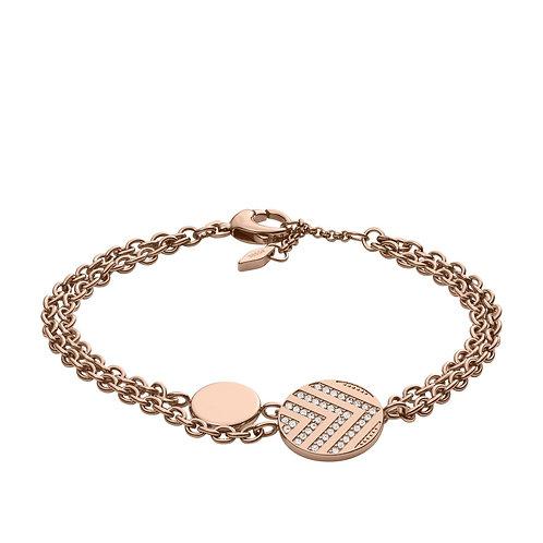 Fossil Women's Stainless Steel Rose Gold Chevron Vintage Glitz Bracelet