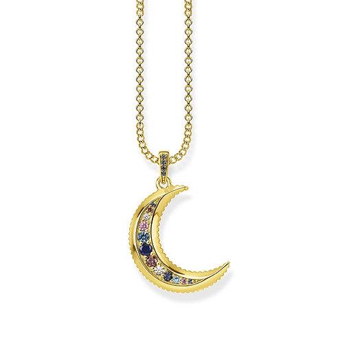 Thomas Sabo Gold Royalty Moon Necklace - KE1826-959-7-L45v