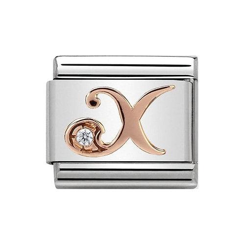 Nomination Rose Gold X Letter Charm Link  - 430310/24
