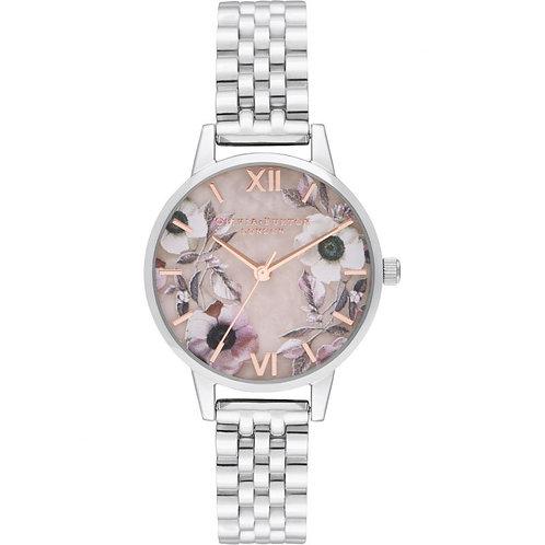 Olivia Burton Semi Precious Flower Dial Silver Bracelet Watch - OB16SP07