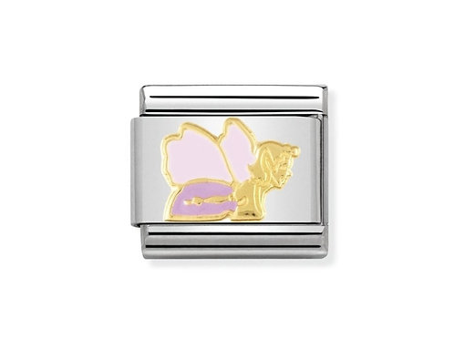 Nomination Gold and Pink Enamel Good Fairy Charm Link - 030272/01