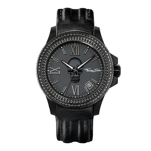 Thomas Sabo Men's Rebel Skull Black Leather Strap Watch - WA0229