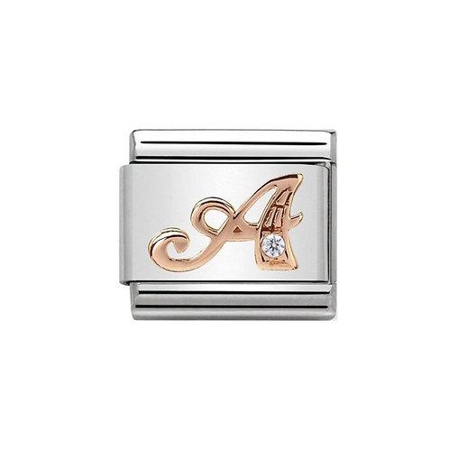 Nomination Rose Gold A Letter Charm Link  - 430310/01