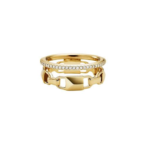 Michael Kors Yellow Gold Mercer Link CZ Ring - SIZE 7/54/N