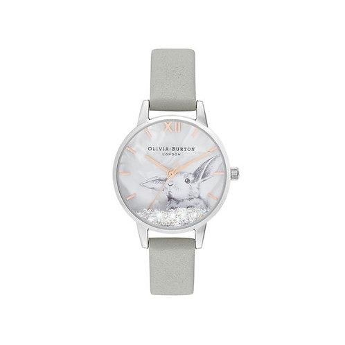 Olivia Burton Wonderland Bunny Grey Leather Strap Watch - OB16WL86