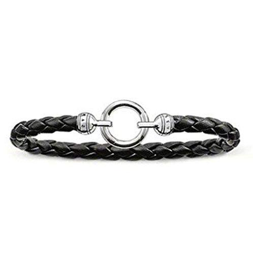 Thomas Sabo Silver Black Leather Charm Bracelet - LB42-008-11-M