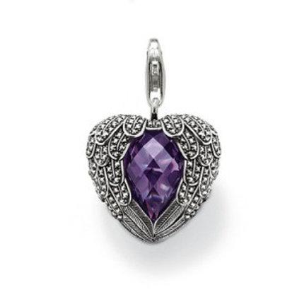 Thomas Sabo Silver Purple CZ Winged Heart Pendant Charm - T0225-021-13