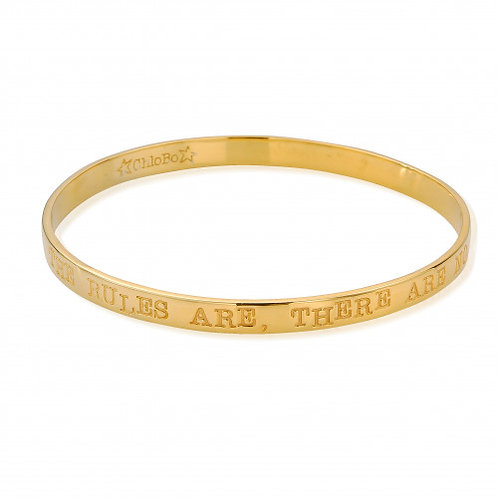 ChloBo Gold Plated Sterling Silver 'The Rules' Bangle Size Medium