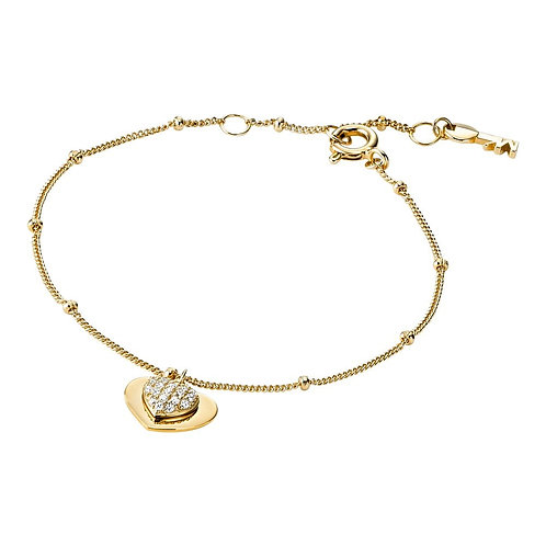 Michael Kors Yellow Gold Heart Duo Pendant Charm Bracelet