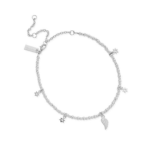ChloBo Silver Mini Cute Divinity Within Anklet - SANMC2350