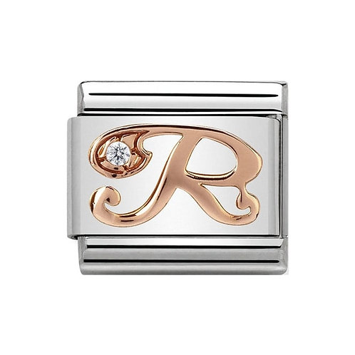 Nomination Rose Gold R Letter Charm Link  - 430310/18