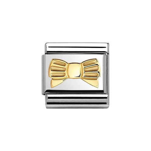 Nomination Gold Striped Bow Charm Link - 030162/25