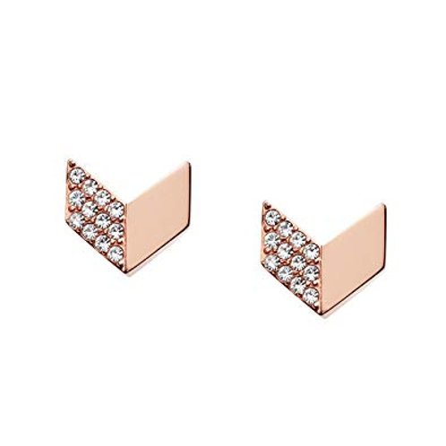 Fossil Stainless Steel Rose Gold CZ Glitz Chevron Earrings