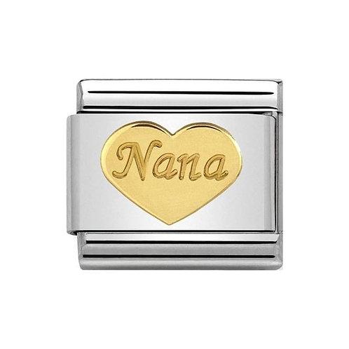 Nomination Gold Nana Love Heart Charm Link  - 030162/43