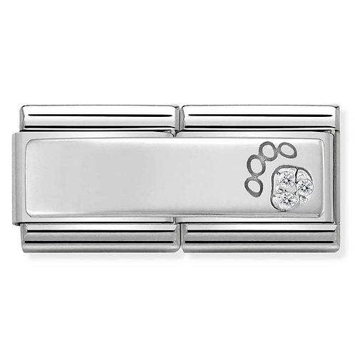 Nomination Silvershine Paw Print Double CZ Charm Link - 330731/13