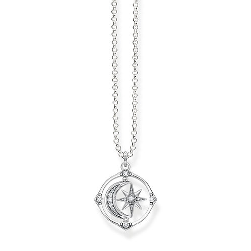 Thomas Sabo Sterling Silver Moon and Stars Spin Necklace - KE1985-643-14-L50v