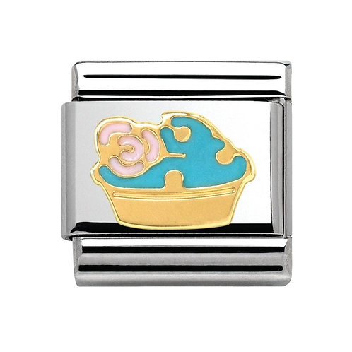 Nomination Gold Classic Blue Muffin with Pink Flower Charm Link - 030285/03
