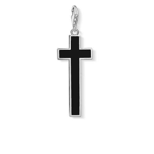 Thomas Sabo Silver Black Onyx Cross Pendant Charm - Y0020-024-11