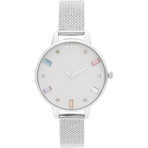 Olivia Burton Bejewelled Bee Silver Mesh Strap Watch - OB16RB10