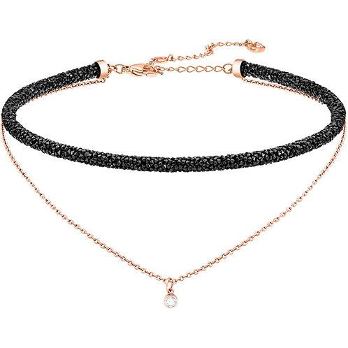 SWAROVSKI Long Beach Black Crystal Rose Gold Choker Necklace - 5385838