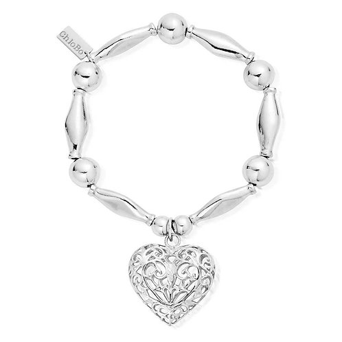 ChloBo Silver Iconic Chunky Filigree Heart Bracelet - SBCHU052