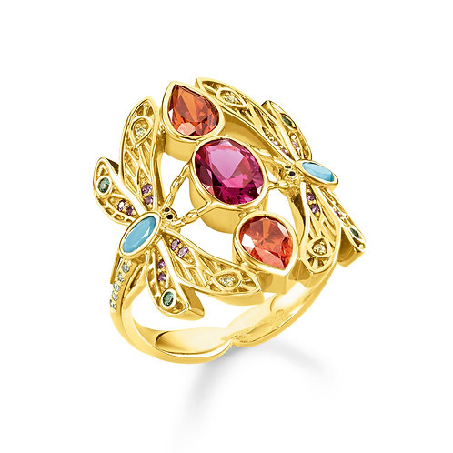 Thomas Sabo Yellow Gold Colourful Dragonfly Ring - TR2228-471-7-56