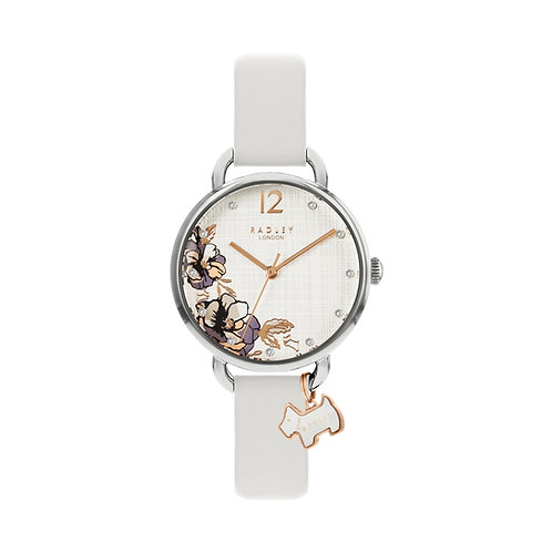 RADLEY Ladies Stainless Steel Floral Light Grey Leather Strap Watch - RY2981