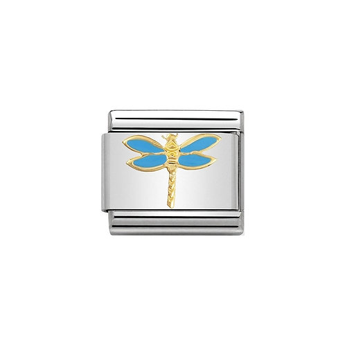 Nomination Gold and Blue Dragonfly Charm Link - 030211/19