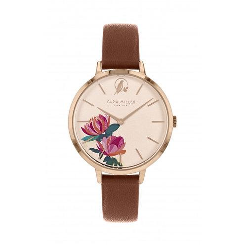 SARA MILLER - Peony Collection Tan Leather Strap Watch - SA2038