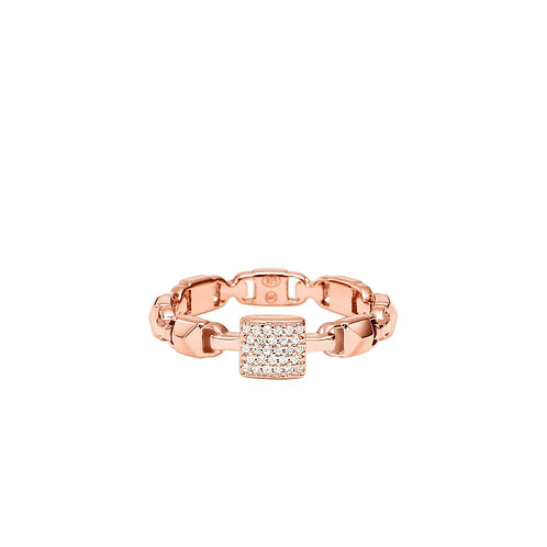 Michael Kors Rose Gold Mercer Link CZ Ring - SIZE 8/P