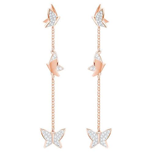 SWAROVSKI Lilia Butterfly Rose Gold Tone Earrings  - 5382364