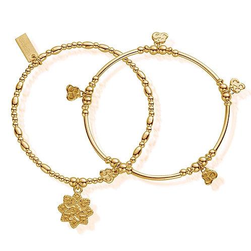 ChloBo Silver Gold Plated Mantra Bracelet Set of 2 - GBSET693742