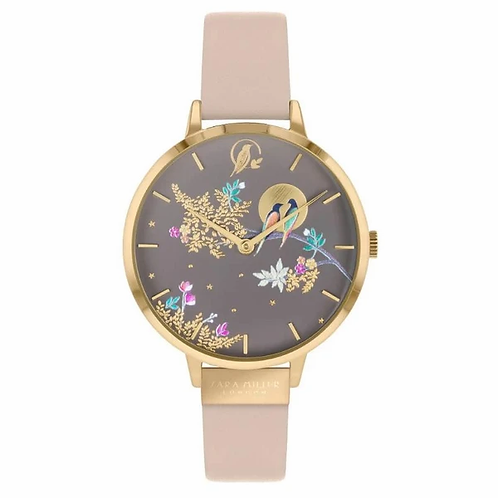 SARA MILLER - Lovebirds Rose Gold Nude Leather Strap Watch - SA2020