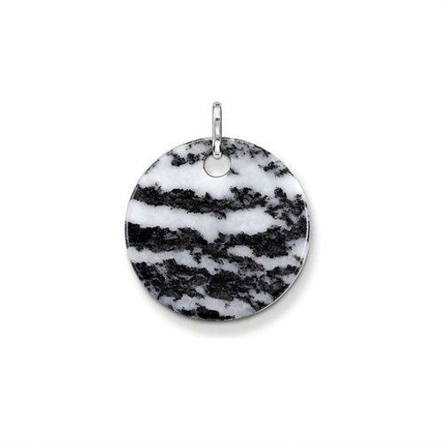 Thomas Sabo Sterling Silver Zebra Jasper Disc Pendant - PE428-195-18
