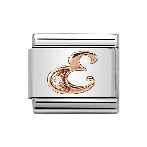Nomination Rose Gold E Letter Charm Link  - 430310/05
