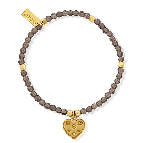 ChloBo Silver Gold Plated Smoky Quartz Flower Heart Bracelet - GBSMOCUB083