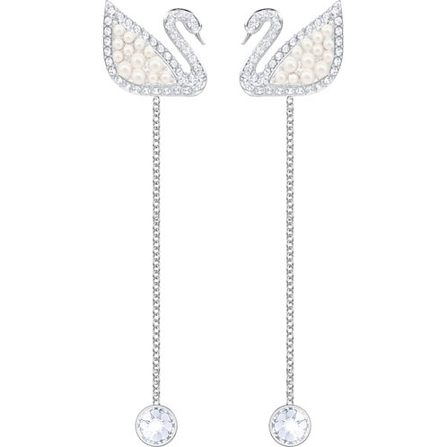 SWAROVSKI Iconic Swan Crystal Pearl Drop Earrings - 5429270