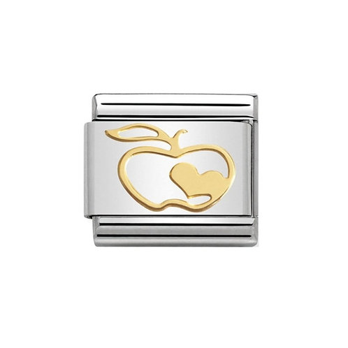 Nomination Gold Apple and Love Heart Charm Link - 030162/05