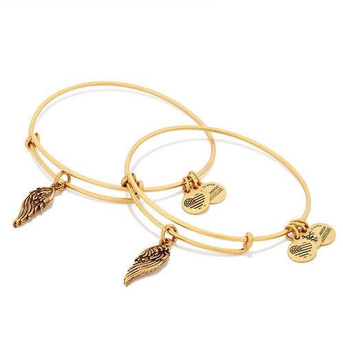Alex and Ani Rafaelian Gold 'Wings' Charm Set of 2 Bangles - A16EB64RG