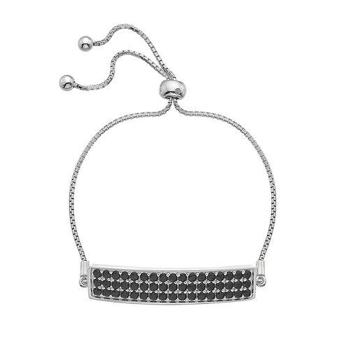Hot Diamonds Sterling Silver Triple Black CZ Row Bracelet - DL512