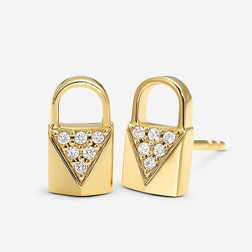 Michael Kors Yellow Gold Mercer Link Stud CZ Earrings