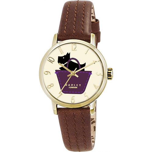 RADLEY Ladies Gold Dog in a Basket Leather Strap Watch - RY2290