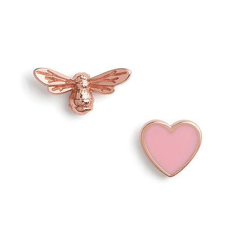 Olivia Burton You have My Heart Pink and Rose Gold Stud Earrings OBJLHE44