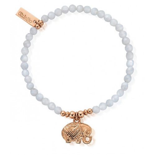 ChloBo Elephant Bracelet - Silver Rose Gold and Blue Lace Agate