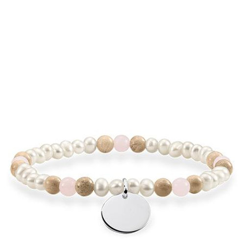 Thomas Sabo Love Bridge Pink Quartz and Pearl Bracelet - LBA0110-350-7