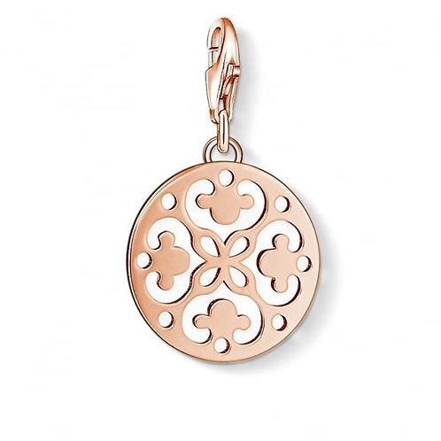 Thomas Sabo Silver Rose Gold  Filligree Disc Charm - 1024-415-12